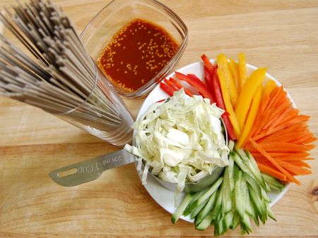 Korean Noodle Salad Preparation