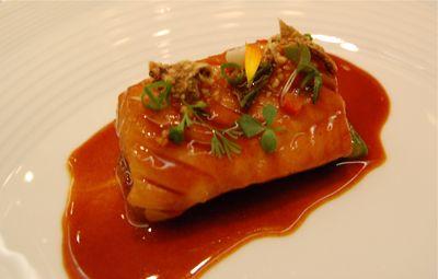 Black cod w red pepper sauce