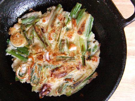 Seafood Pancake (해물 파전 - haemul pajeon)
