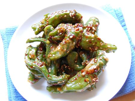 Steamed Shishito Peppers (꽈리고추 찜 - ggwa ri go chu jjim)