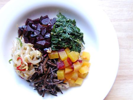 Winter Bibimbap - bean sprouts, garland chrysanthemum, red & yellow beets, chwinamul