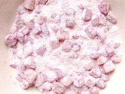 1) Mix beets in rice flour mix