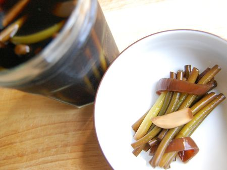 Pickled garlic scape