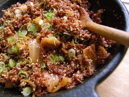 Kimchi Bacon Fried Quinoa