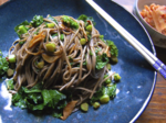 Buckwheat Noodles with Sautéed Garlic and Kale