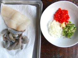 1) White fish filet, shrimp & finely chopped vegetables