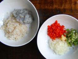 2) Finely chop fish filet and peeled, de-veined shrimp