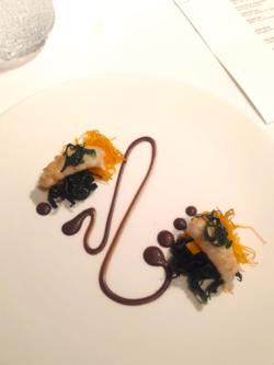 Crayfish & Black garlic sauce @ Moments in Barcelona, Nov 2013