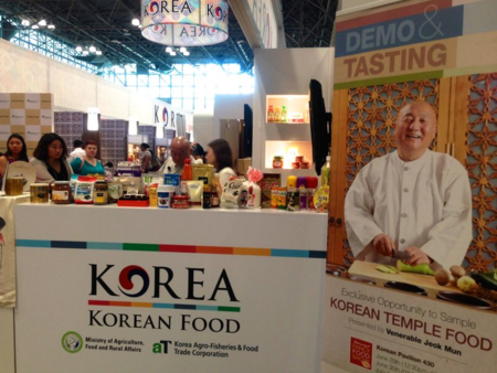 Preparing for Korean temple food demo @Fancy Food Show, June 2014