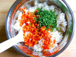 3) Season rice first, then cool to room temp. Mix in cooled-off vegetables.