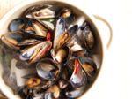 Steamed Mussels (홍합찜) in Spicy Radish Broth