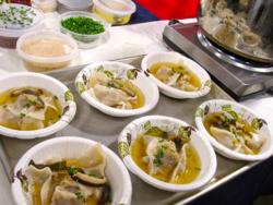 Kimchi dumpling soup - ready to be served