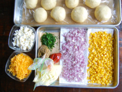3) During second proofing, prepare corn salad topping ingredients.