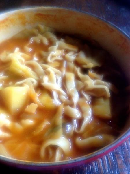 Handmade noodles in spicy chicken stew