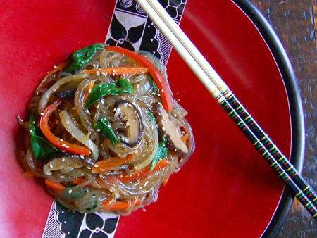 Weeknight Japchae (잡채 glass noodles with vegetables)
